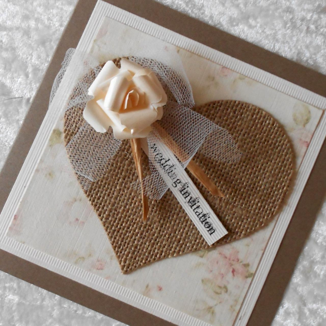Rustic Wedding Invitations With Burlap Hessian Heart And Tulle – Handmade Rustic Wedding Invitations